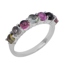 7 Multi Color Tourmaline Stone 925 Sterling Silver Jewelry Ring Sz 11 SHRI0763