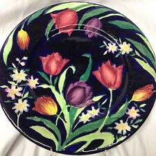 """MALING ENGLAND 11.25"""" PLATE 6064 EMBOSSED TULIPS BLACK BACKGROUND AS IS CRAZING"""
