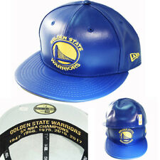 New Era NBA Golden State Warriors 5950 Fitted Hat Blue Faux Leather Cap