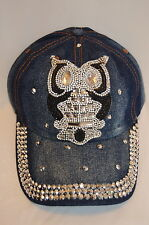 OWL Woot Hoot Jewels Rhinestone Crystal Bling Blue Denim Baseball CAP HAT