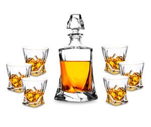KANARS Crystal Whiskey Decanter Set w/ Elegant Gift Box for Bourbon Vodka Cognac