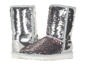 UGG Womens Classic Short Sequin Sparkles Boots Silver Pink Reversible SZ 8 9 NEW