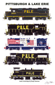 "Pittsburgh & Lake Erie Locomotives 11""x17"" Railroad Poster Andy Fletcher signed"