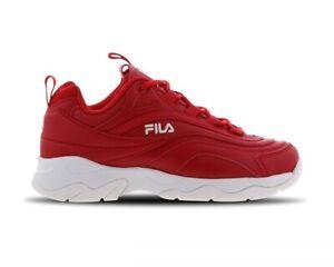 Original Kids Junior Fila Ray  Fire Red White Trainers 3RM00525-612
