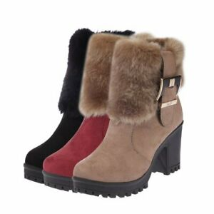 Women High Block Heel Buckle Zip Up Warm Plush Shoes Faux Fur Chunky Ankle Boots