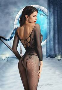 2 Colors Hot Crotchless Bodystocking Bodysuit Fishnet Lingerie Lace-up Nightwear