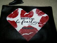New Maybelline KISS Makeup Is Art Be Fearless Cosmetic Zip Pouch Bag Black