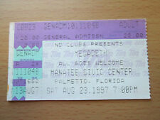 1997 MEGADETH FLORIDA CONCERT TICKET STUB DAVE MUSTAINE KILLING IS MY BUISNESS