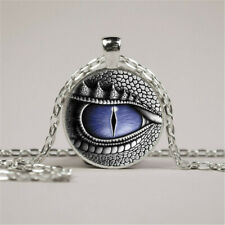 Dragon Eye Photo Tibet Silver Cabochon Glass Pendant Chain Necklace Jewelry