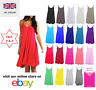 Ladies Camisole Cami Flared Skater Womens Strappy Vest Top Swing Mini Dress