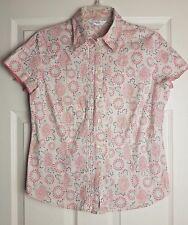 NEXT Ladies Beige/Pink Floral Cap Sleeve Blouse Top Summer Spring Size 16 /EU 44