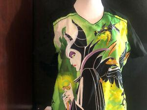 Scrubs Scrub Top Disney Cartoon Maleficent From Snow White Medium M (H40)