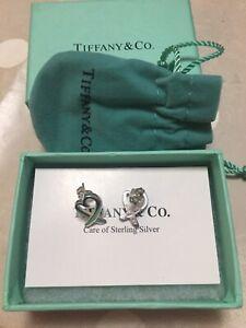 Pair Of 925 Silver Tiffany & Co Heart Shaped Earrings In Original Box