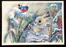 Happy New Year! Winter forest. Hare Bullfinch, artist Zhebeleva, Soviet postcard