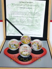 2011 Cook Islands 4 x $2 Lunar Year of the Rabbit Silver Color Proof Coin Set