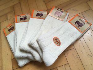 Turkish Merino Wool Seamless Cream UNPAINTED Thick Men Socks-5 Pairs Pack
