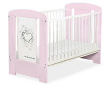 My Sweet Baby - Baby White Cot with Grey Heart - Pink
