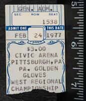 Vintage Gold Gloves Boxing Feb 24 1977 Ticket Stub Pittsburgh Civic Arena tob