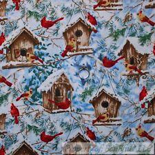 BonEful Fabric Cotton Quilt White Snow Bird House Cardinal Xmas Tree Wood SCRAP