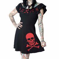 Kreepsville 666 RED CROSSBONES RUFFLE Collar skater Dress ON-Off SHOULDER Goth