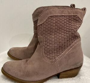 Nine West Vintage America Suede Boots Mauve Boho Woven Cowboy size 7 GRT