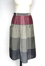 Betty Barclay Cotton-Mix Plaid Skirt - Gathered - Khaki Green / Pink - UK 10