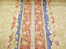 beis, azul, Rosa Barroco Rayas Estampado Floral 100% Algodón Tela de cortina