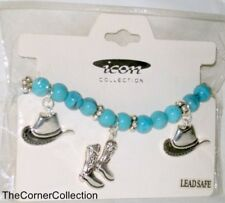 FAUX TURQUOISE BEAD COWBOY COWGIRL BOOTS & HATS STRETCH CHARM BRACELET