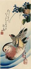 """Véritable Estampe Japonaise De Hiroshige """"Canards Mandarins Dans Un Ruisseau .."""""""