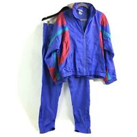 Vintage Adidas Mens Windbreaker Track Suit Small Jacket and Pants Blue Pink