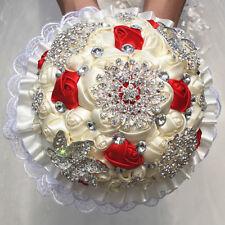 Wedding Rose Flower Bridal Bouquet Crystal Pearl Lace Satin Brooch Handmade 18cm