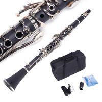 New Professional 17Key Hard Bakelite Clarinet Flat B+ Manual+ Cloth+ Screwdriver