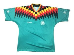 adidas 1994 World Cup Germany Away Green S/S Jersey Soccer Football Made Men's L