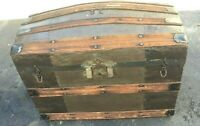 Antique Dome Top Steamer Trunk With Insert Shelf