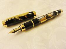 "Japanese Urushi Lacquer Golden Makie fountain Pen ""Crane and Tortoise"""