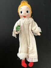 "Vintage Cloth Folk Art Kewpie Doll Style Christmas Angel 10""H"