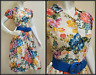 Vtg 80s fit flare floral print cotton dress The Cotton Collection Sz S M Pin Up