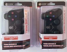 Lot of 2 PS2 Wireless Double Joysticks Vibration Control Black Color Free Ship