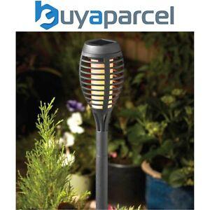5 x Smart Garden Slate Grey Solar Party Flaming Torch Light Stake Lantern LED