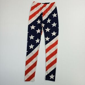 Unbranded Striped USA Flag America Athletic Yoga Stretch Ankle Pants Leggings XS