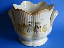 VINTAGE PLANTER FRENCH FAIENCE  SARREGUEMINES PATTERN CHILDRENS