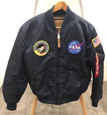 Herren Frauen Alpha Industries NASA  Bomber Pilot Jacke MA-1 VF Navy Blau Gr. XL