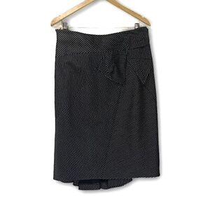 KAREN MILLEN Size 16 Pencil Skirt Fishtail Black / Striped