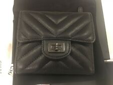 "NWT CHANEL ""So Black' CHEVRON Reissue Wallet BLACK ON BLACK Functional turn lock"