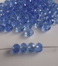 Light Blue Faceted Rondelle Crystal Glass Beads - Pack of 70 - 8mm x 6mm