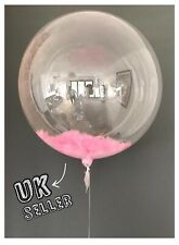 """36"""" Giant Clear Bubble Baby Pink Feather Balloon Wedding Baby Shower Birthday UK"""