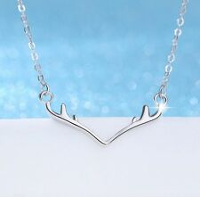 Antler Deer Horn Sterling Silver Pendant Charm Necklace Christmas Gift Box AJ