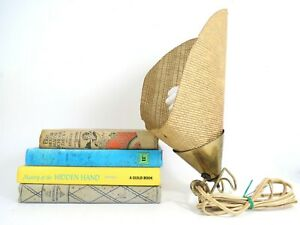 Vintage Fiberglass Cone Lamp Mid Century Modern Desk Light Soft Woven Shade Gold
