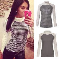 Damen Rollkragen Pullover Pulli Sweatershirt  Sweats Jumper Longshirt Bluse Tops