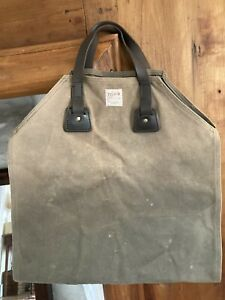 Vintage Filson Log Carrier Green Canvas w/ Leather handles USA ~Nice!